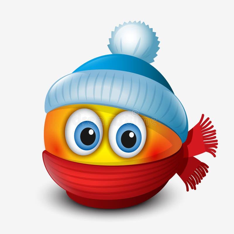 Χαριτωμένος χειμώνας emoticon, φορώντας την ΚΑΠ και το μαντίλι, emoji, smiley - διανυσματική απεικόνιση διανυσματική απεικόνιση