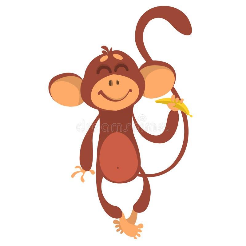 Χαριτωμένος χιμπατζής πιθήκων στην μπανάνα εκμετάλλευσης ύφους κινούμενων σχεδίων διασκέδασης διανυσματική απεικόνιση