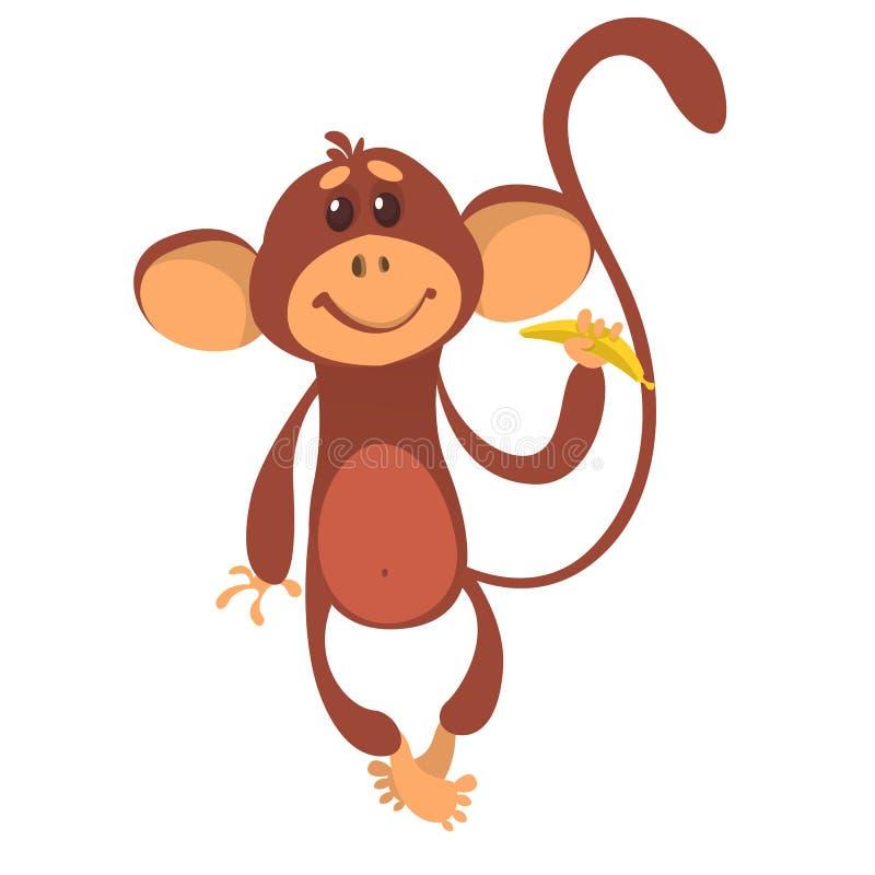 Χαριτωμένος χιμπατζής πιθήκων στο ύφος κινούμενων σχεδίων διασκέδασης ελεύθερη απεικόνιση δικαιώματος