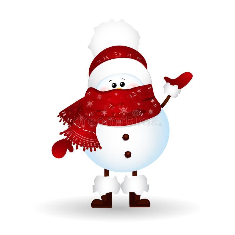 Χαριτωμένος χιονάνθρωπος Χριστουγέννων με το μαντίλι και το κόκκινο καπέλο Άγιου Βασίλη, χαιρετισμοί που απομονώνονται στο άσπρο  απεικόνιση αποθεμάτων