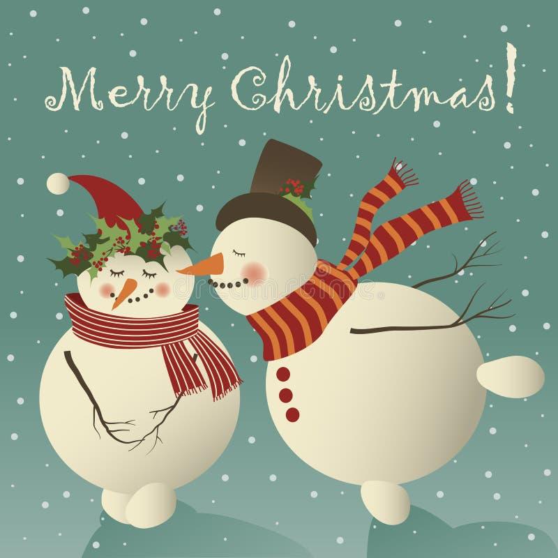 Χαριτωμένος χιονάνθρωπος δύο ερωτευμένος ελεύθερη απεικόνιση δικαιώματος