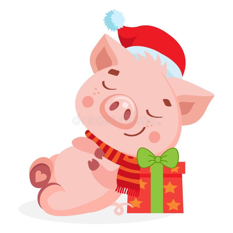 Χαριτωμένος χοίρος μωρών κινούμενων σχεδίων ευτυχής στο καπέλο Santa Ύπνος χοίρων Santa στο κιβώτιο δώρων ελεύθερη απεικόνιση δικαιώματος