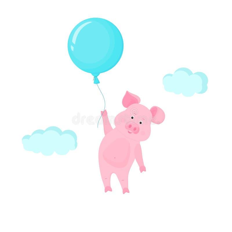 Χαριτωμένος χοίρος που πετά στον ουρανό που κρατά το μπαλόνι Αστείος piggy διανυσματικός χαρακτήρας κινουμένων σχεδίων διανυσματική απεικόνιση