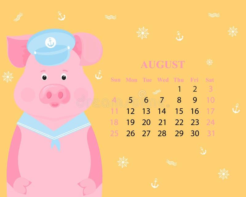 Χαριτωμένος χοίρος σε ένα γείσο και ένα περιλαίμιο κοστουμιών ναυτικών Μηνιαίο ημερολόγιο για τον Αύγουστο του 2019 αστείος piggy ελεύθερη απεικόνιση δικαιώματος