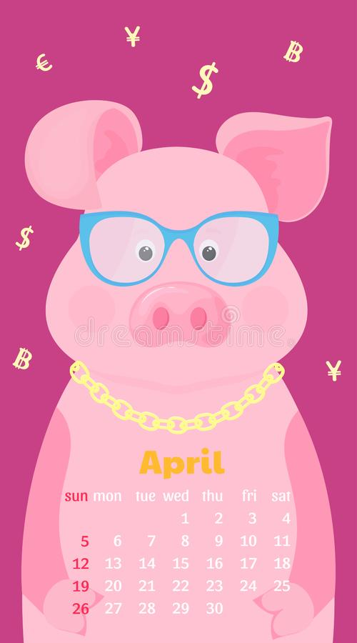 Χαριτωμένος χοίρος eyeglasses με το σημάδι δολαρίων σε μια χρυσή αλυσίδα Μηνιαίο ημερολόγιο για τον Απρίλιο του 2020 Έναρξη εβδομ ελεύθερη απεικόνιση δικαιώματος