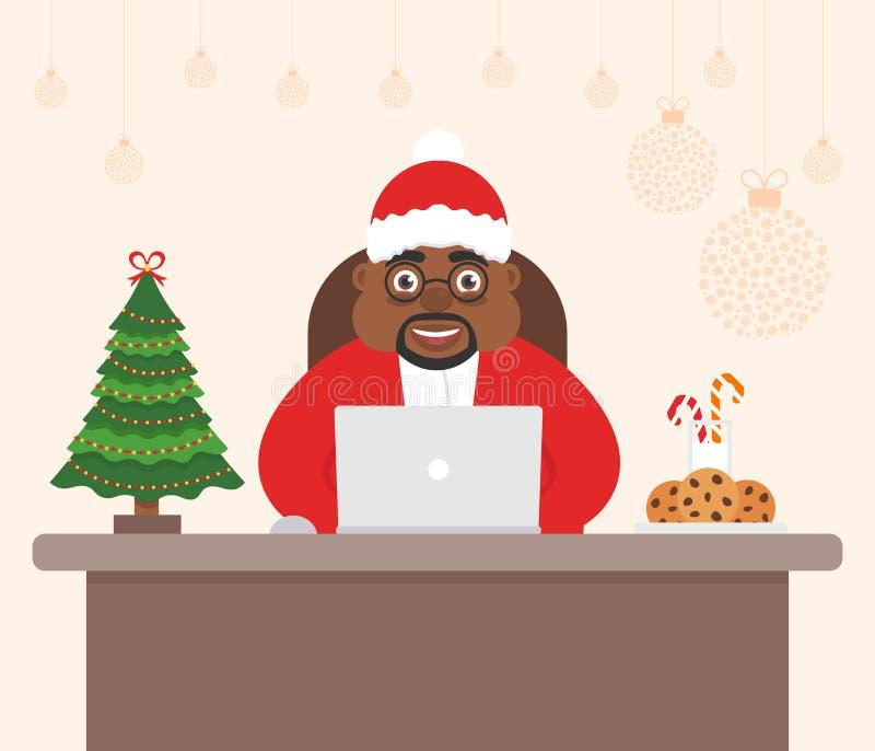Χαριτωμένος όμορφος χαρακτήρας αφρικανικός Άγιος Βασίλης, δέντρο διακοπών Διακοσμημένη Χαρούμενα Χριστούγεννα γραφείων εργασιακών ελεύθερη απεικόνιση δικαιώματος