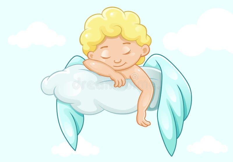 Χαριτωμένος ύπνος λίγος άγγελος ελεύθερη απεικόνιση δικαιώματος