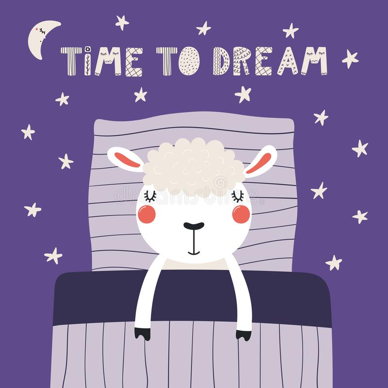 χαριτωμένος ύπνος προβάτων ελεύθερη απεικόνιση δικαιώματος