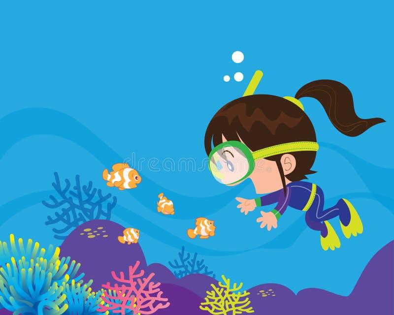 Χαριτωμένος δύτης κοριτσιών κάτω από τη θάλασσα απεικόνιση αποθεμάτων