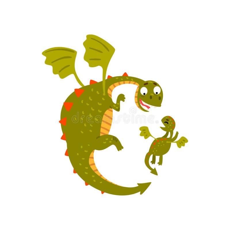 Χαριτωμένος ώριμος δράκος και μικρό πέταγμα δράκων μωρών, μητέρα και το παιδί της, οικογένεια των πράσινων μυθικών κινούμενων σχε απεικόνιση αποθεμάτων