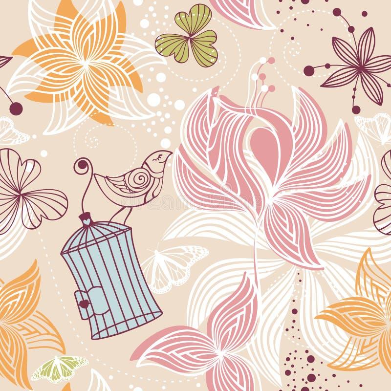 χαριτωμένος floral άνευ ραφής α&nu απεικόνιση αποθεμάτων