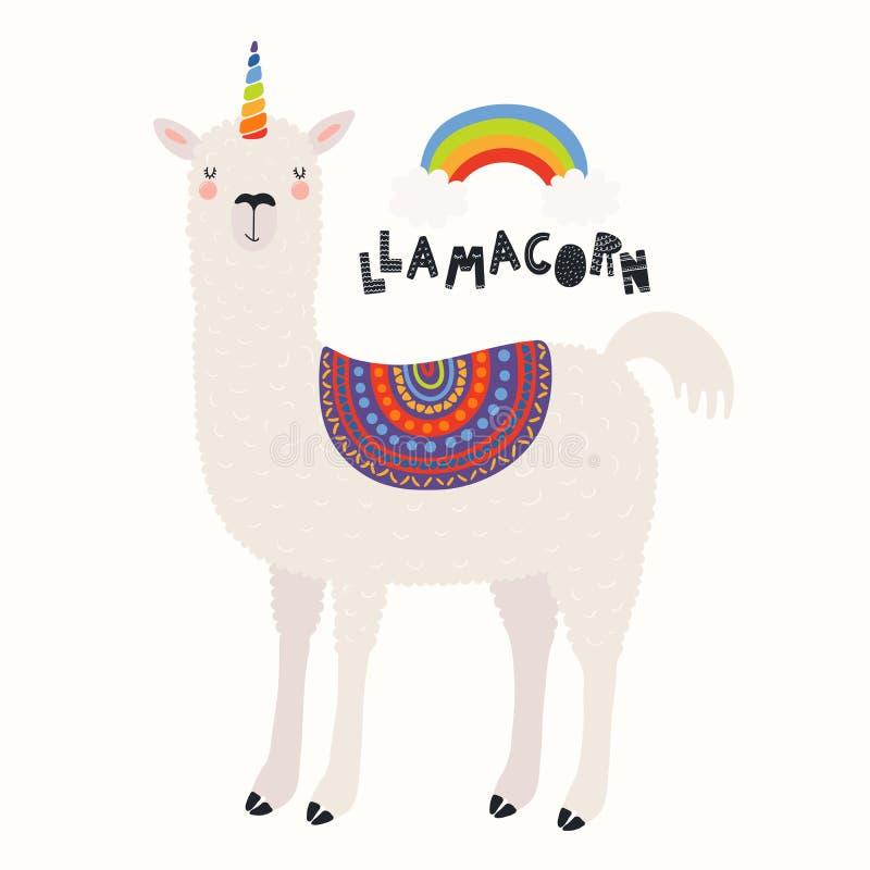 Χαριτωμένος llama μονόκερος διανυσματική απεικόνιση