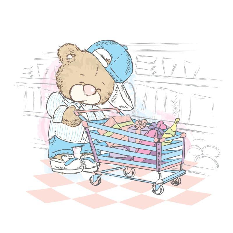 Χαριτωμένος teddy αντέχει με ένα κάρρο των δώρων Αντέξτε κάνει μια αγορά Το Teddy αντέχει σε μια υπεραγορά επίσης corel σύρετε το διανυσματική απεικόνιση