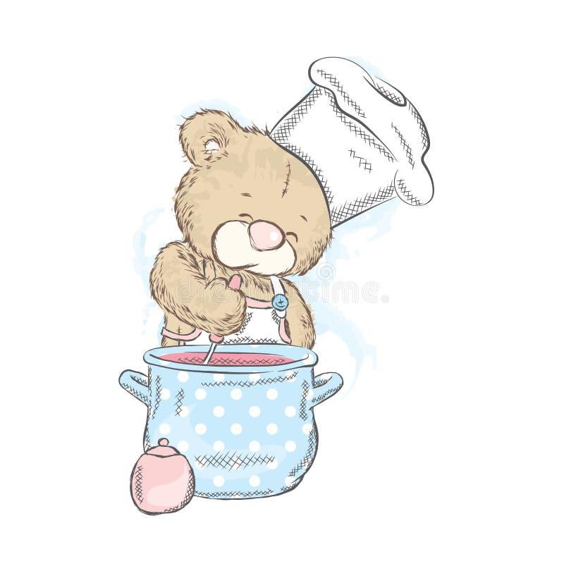 Χαριτωμένος teddy αντέχει με μια κατσαρόλλα Αντέξτε προετοιμάζει το γεύμα Μάγειρας επίσης corel σύρετε το διάνυσμα απεικόνισης ελεύθερη απεικόνιση δικαιώματος
