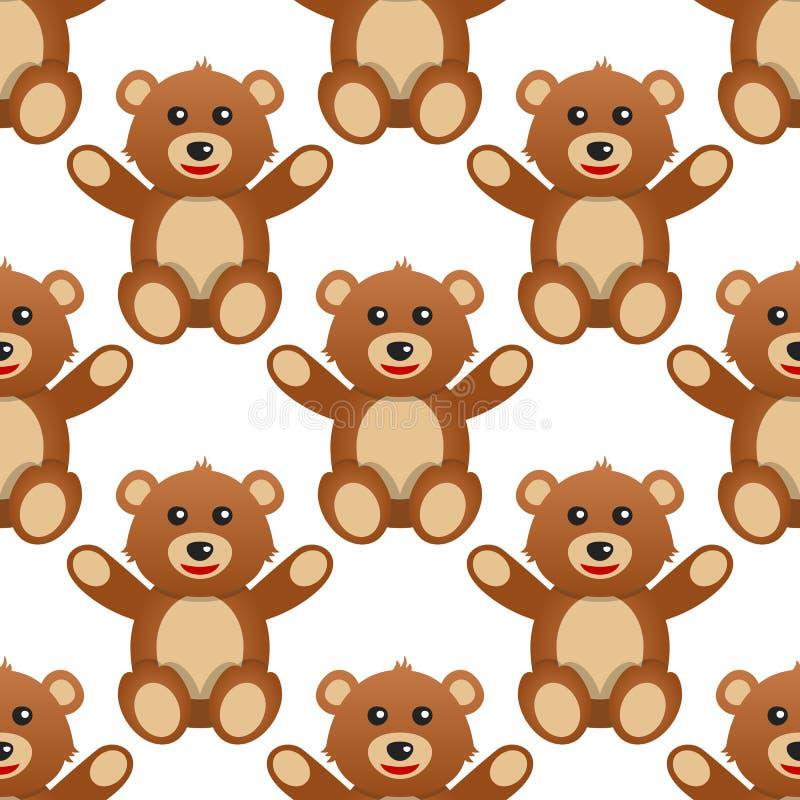 Χαριτωμένος teddy αντέχει το άνευ ραφής σχέδιο διανυσματική απεικόνιση