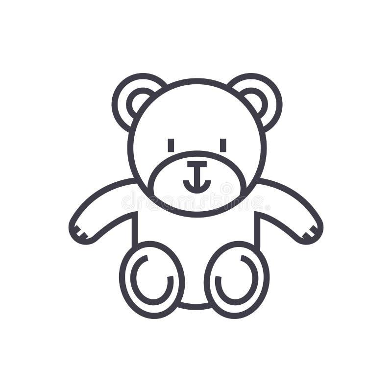 Χαριτωμένος teddy αντέχει το διανυσματικό εικονίδιο γραμμών, σημάδι, απεικόνιση στο υπόβαθρο, editable κτυπήματα ελεύθερη απεικόνιση δικαιώματος