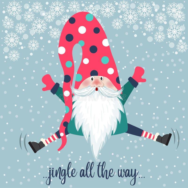 Χαριτωμένο άλμα στο gnome Χριστουγεννιάτικη κάρτα Επίπεδη σχεδίαση διανυσματική απεικόνιση