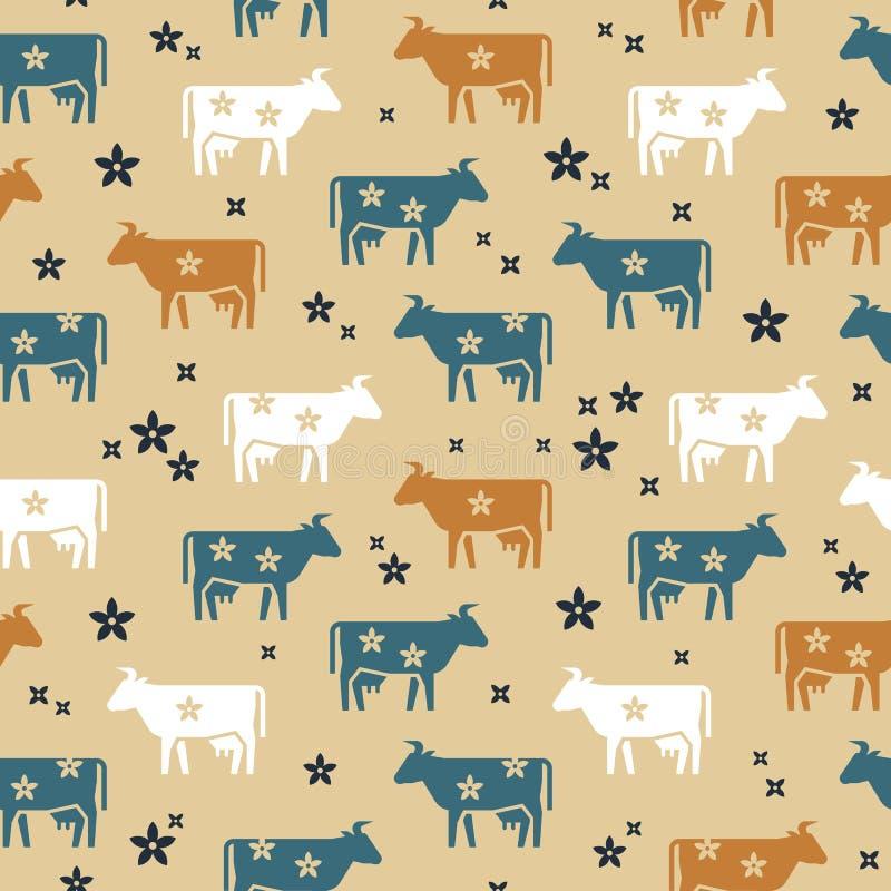 Χαριτωμένο άνευ ραφής διανυσματικό σχέδιο των αγελάδων ζώων αγροκτημάτων, των λουλουδιών και άλλων στοιχείων στα διάφορα χρώματα ελεύθερη απεικόνιση δικαιώματος