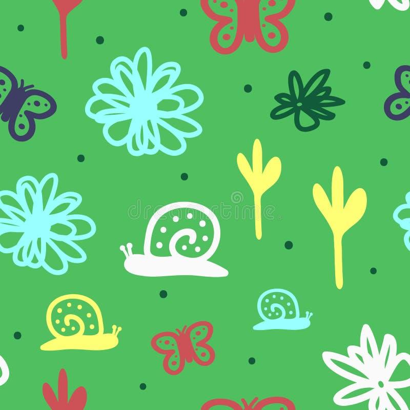Χαριτωμένο άνευ ραφής σχέδιο για τα παιδιά Επαναλαμβανόμενα σαλιγκάρια, λουλούδια, πεταλούδες και στρογγυλά σημεία Συρμένος με το απεικόνιση αποθεμάτων