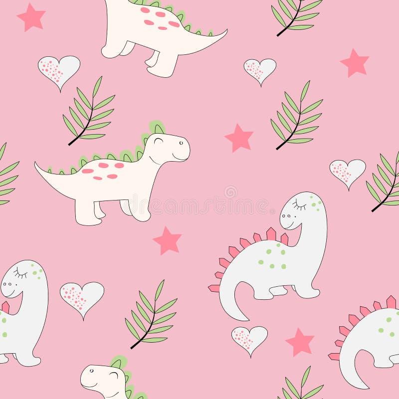 Χαριτωμένο άνευ ραφής σχέδιο δεινοσαύρων μωρών ελεύθερη απεικόνιση δικαιώματος