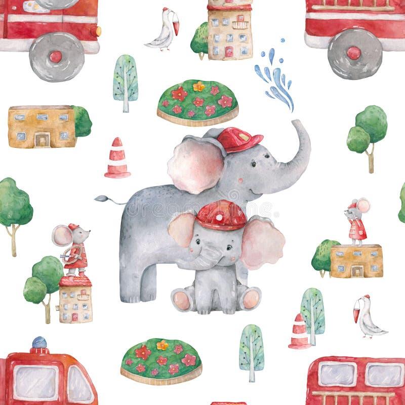 Χαριτωμένο άνευ ραφής σχέδιο ελεφάντων watercolor για το ντους μωρών με το αυτοκίνητο ποντικιών και πυρκαγιάς Απεικόνιση ομορφιάς απεικόνιση αποθεμάτων
