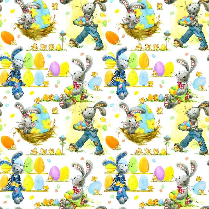 Χαριτωμένο άνευ ραφής σχέδιο λαγουδάκι Πάσχας και watercolor αυγών διανυσματική απεικόνιση