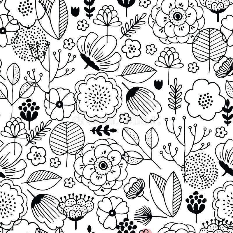 Χαριτωμένο άνευ ραφής σχέδιο λουλουδιών Γραμμικός γραφικός Floral υπόβαθρο Σκανδιναβικό ύφος επίσης corel σύρετε το διάνυσμα απει απεικόνιση αποθεμάτων
