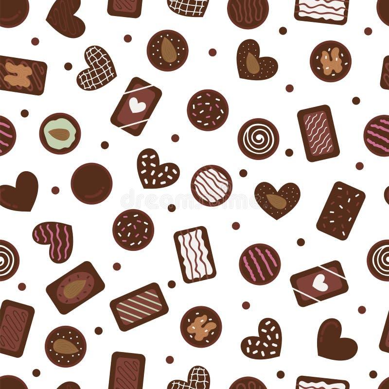 Χαριτωμένο άνευ ραφής σχέδιο με συρμένες τις χέρι καραμέλες σοκολάτας Γλυκό υπόβαθρο κινούμενων σχεδίων Ανάμεικτος sweetmeat Επιδ διανυσματική απεικόνιση