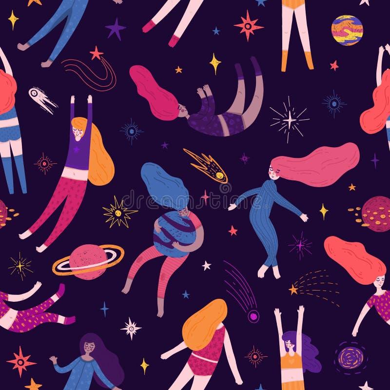 Χαριτωμένο άνευ ραφής σχέδιο με τα διαστημικά στοιχεία και τις όμορφες γυναίκες Ταπετσαρία ύφους κινούμενων σχεδίων με το κορίτσι διανυσματική απεικόνιση