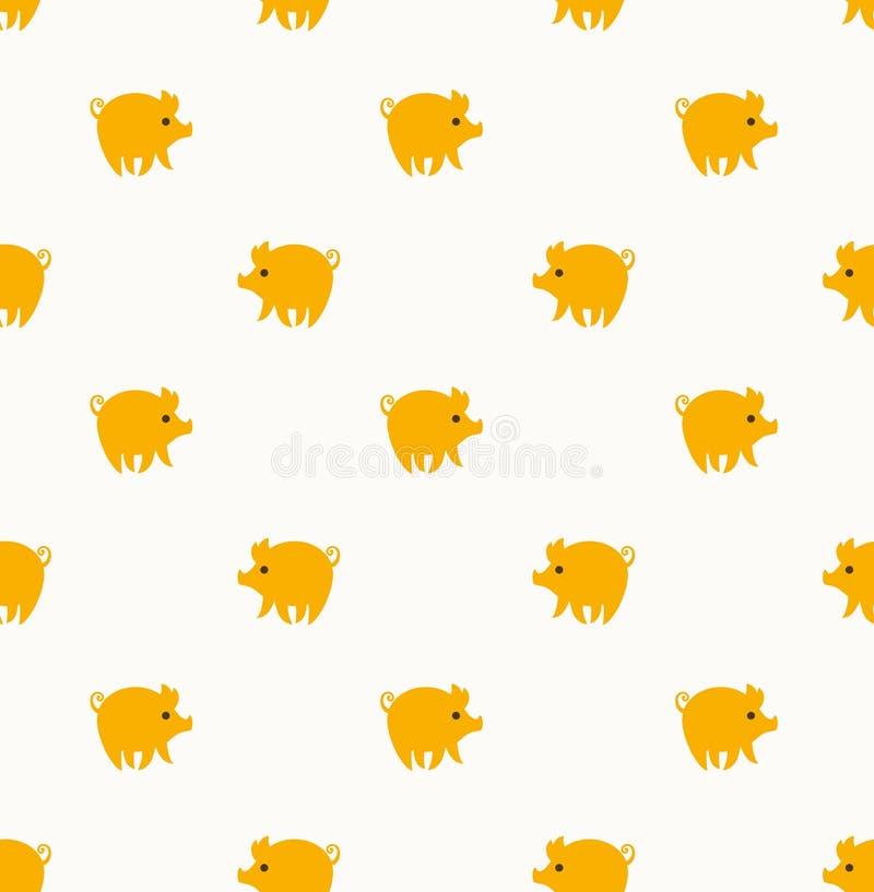 Χαριτωμένο άνευ ραφής σχέδιο με τα κίτρινα χοιρίδια απεικόνιση αποθεμάτων