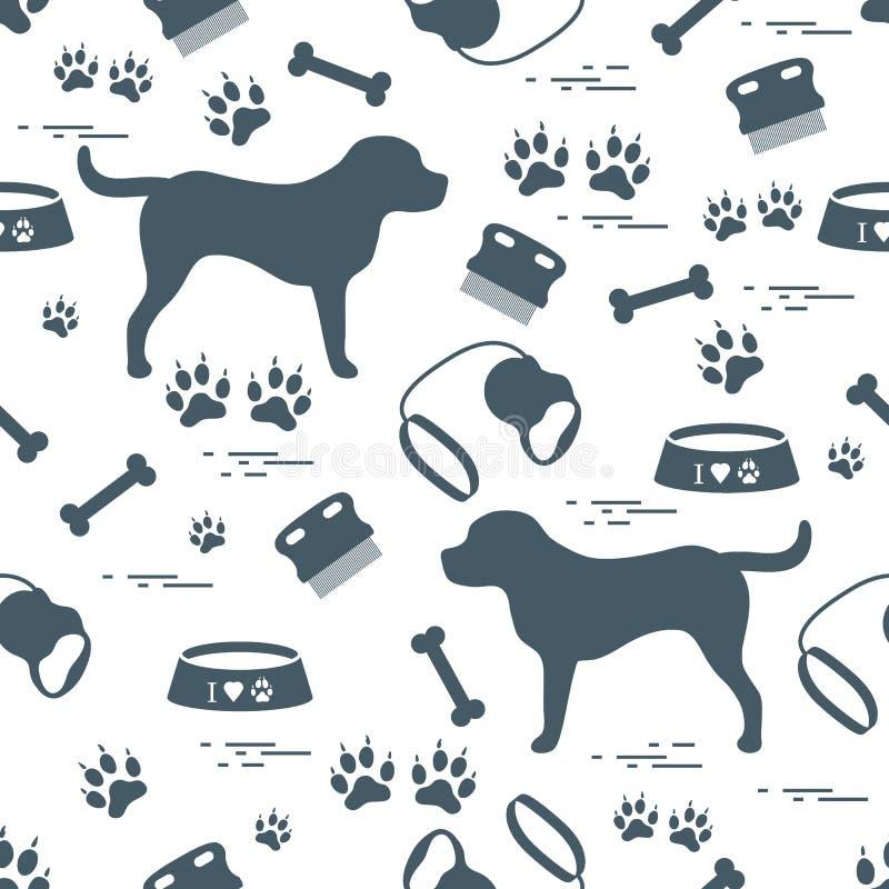 Χαριτωμένο άνευ ραφής σχέδιο με τη σκιαγραφία σκυλιών, κύπελλο, ίχνη, κόκκαλο, β στοκ εικόνα με δικαίωμα ελεύθερης χρήσης