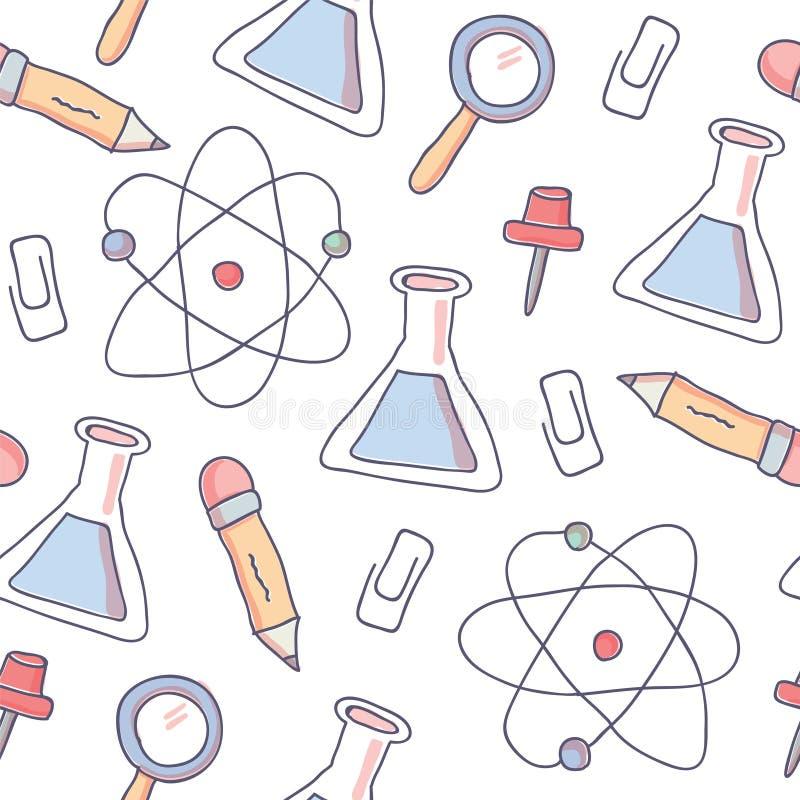 Χαριτωμένο άνευ ραφής σχέδιο με τις σχολικές προμήθειες doodle διανυσματική απεικόνιση