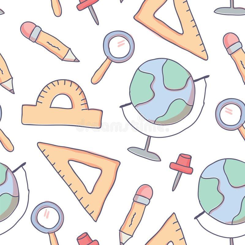 Χαριτωμένο άνευ ραφής σχέδιο με τις σχολικές προμήθειες doodle ελεύθερη απεικόνιση δικαιώματος