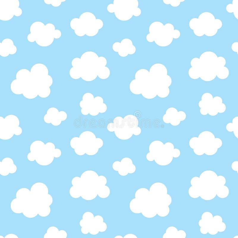 Χαριτωμένο άνευ ραφής σχέδιο μωρών με το μπλε ουρανό με τα άσπρα επίπεδα εικονίδια σύννεφων Υπόβαθρο συμβόλων σύννεφων για το ύφα απεικόνιση αποθεμάτων
