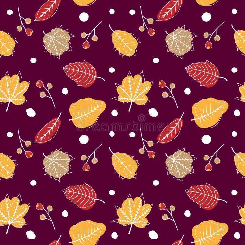 Χαριτωμένο άνευ ραφής σχέδιο φθινοπώρου με το χέρι που σύρει τα ξηρά φύλλα απεικόνιση αποθεμάτων