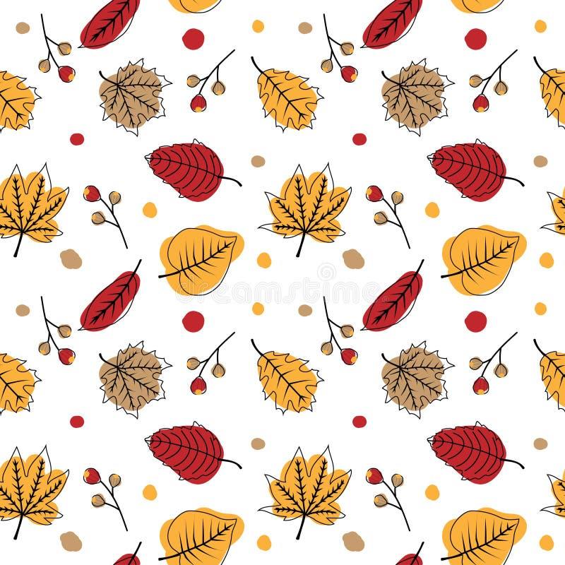 Χαριτωμένο άνευ ραφής σχέδιο φθινοπώρου με το χέρι που σύρει τα ξηρά φύλλα ελεύθερη απεικόνιση δικαιώματος