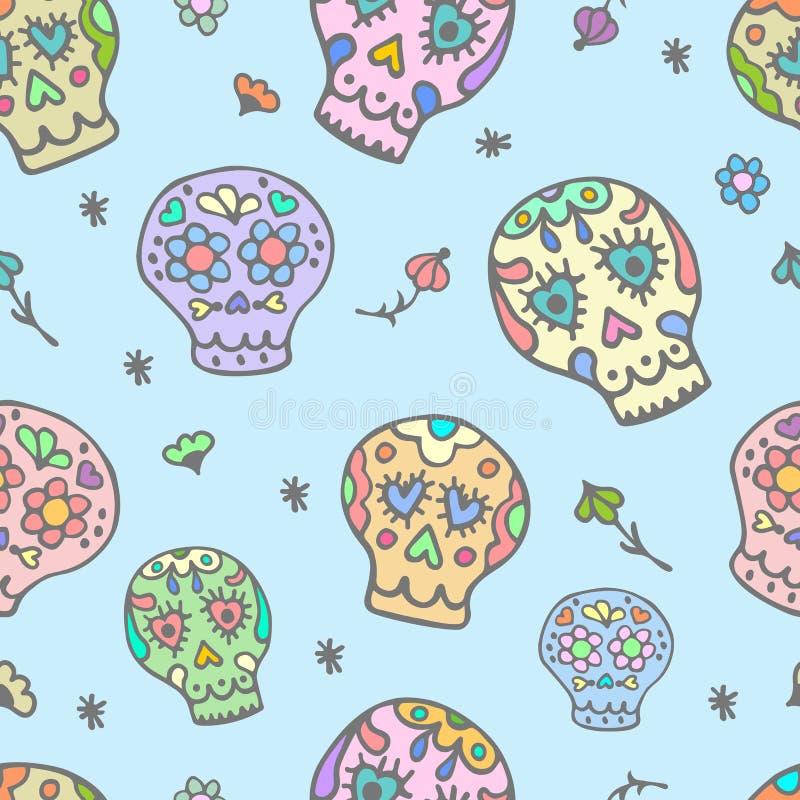 Χαριτωμένο άνευ ραφής σχέδιο ζάχαρης sculls doodle Υπόβαθρο, κλωστοϋφαντουργικό προϊόν σύστασης διανυσματική απεικόνιση
