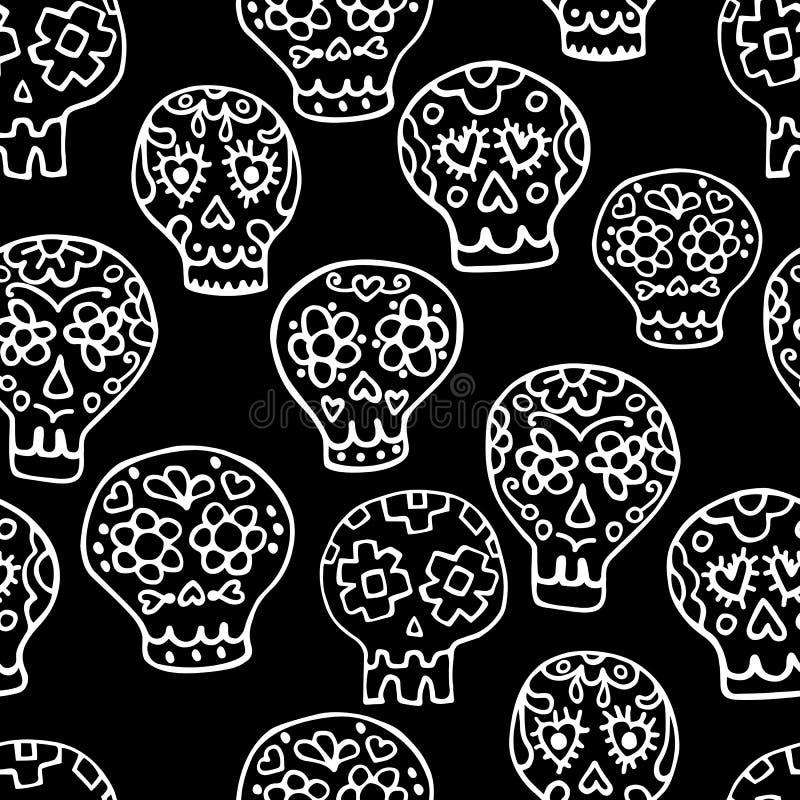 Χαριτωμένο άνευ ραφής σχέδιο ζάχαρης sculls doodle Υπόβαθρο, κλωστοϋφαντουργικό προϊόν σύστασης ελεύθερη απεικόνιση δικαιώματος
