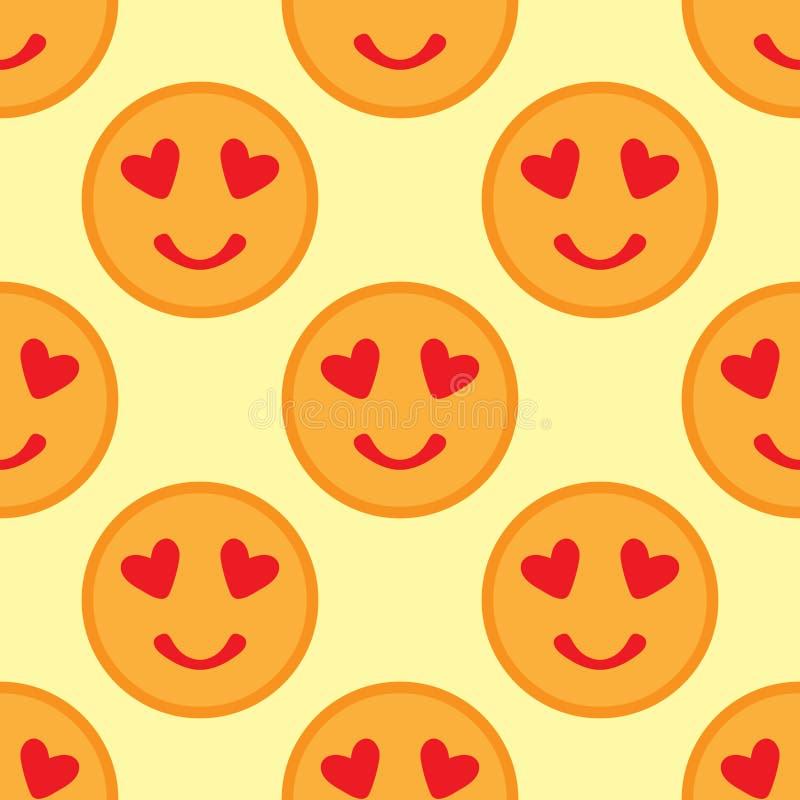 Χαριτωμένο άνευ ραφής σχέδιο με στρογγυλό smileys Πρόσωπα χαμόγελου με τις καρδιές απεικόνιση αποθεμάτων