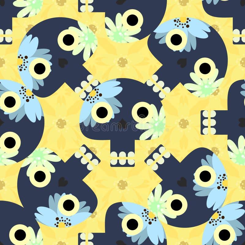 Χαριτωμένο άνευ ραφής σχέδιο με τα αστεία κρανία και τα κίτρινα λουλούδια διανυσματική απεικόνιση