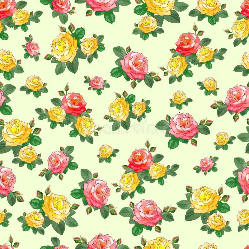 Χαριτωμένο άνευ ραφής σχέδιο με τα τριαντάφυλλα στοκ εικόνες