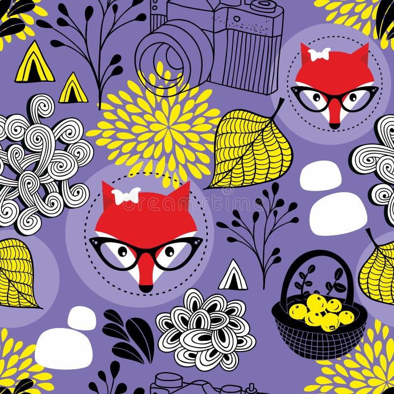 Χαριτωμένο άνευ ραφής σχέδιο με τις κόκκινα αλεπούδες και τα φύλλα φθινοπώρου απεικόνιση αποθεμάτων