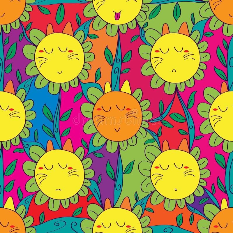 Χαριτωμένο άνευ ραφής σχέδιο λουλουδιών γατών ελεύθερη απεικόνιση δικαιώματος