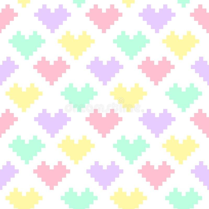 Χαριτωμένο άνευ ραφής σχέδιο των καρδιών στα χρώματα κρητιδογραφιών σε ένα άσπρο υπόβαθρο απεικόνιση αποθεμάτων