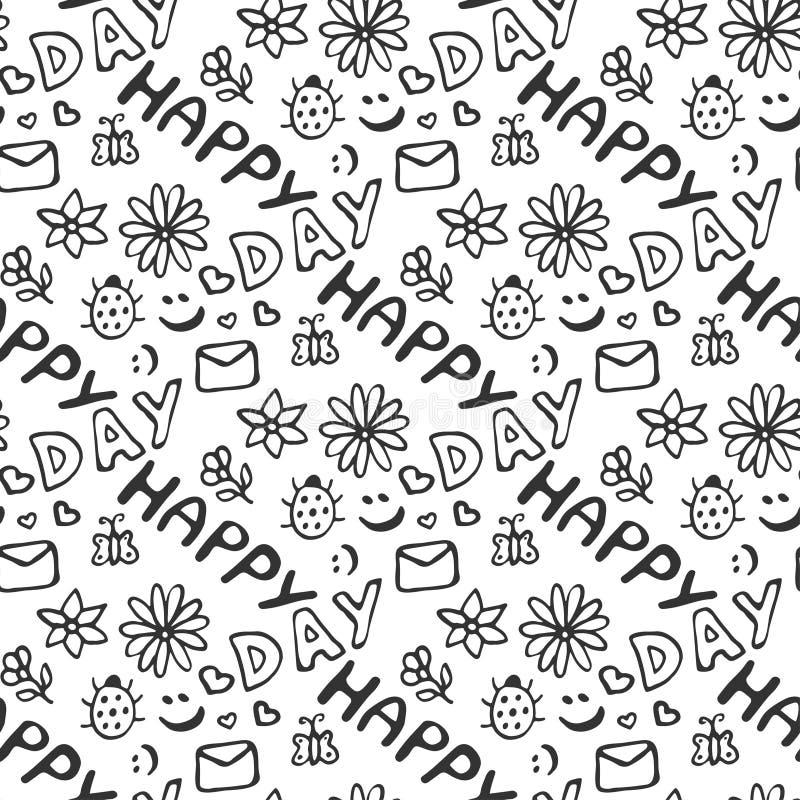 Χαριτωμένο άνευ ραφής σχέδιο doodle με τις καρδιές, τα λουλούδια, τις λαμπρίτσες, τα χαμόγελα, την πεταλούδα και την επιστολή Ευτ διανυσματική απεικόνιση