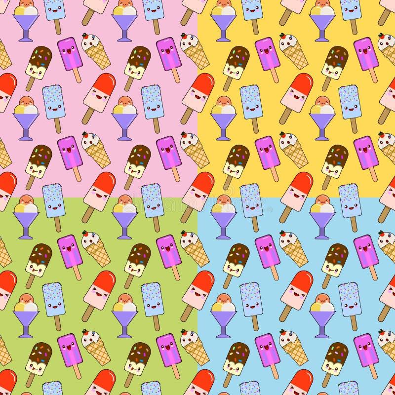 Χαριτωμένο άνευ ραφής σύνολο σχεδίων παγωτού Χαρακτήρες κινουμένων σχεδίων Kawaii Επιφάνεια γκοφρετών με τη λειωμένη κρέμα φραουλ στοκ εικόνες