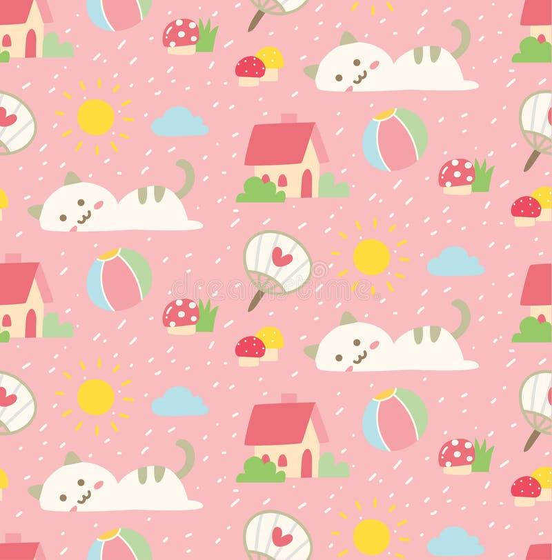 Χαριτωμένο άνευ ραφής υπόβαθρο γατών στο διάνυσμα ύφους kawaii απεικόνιση αποθεμάτων