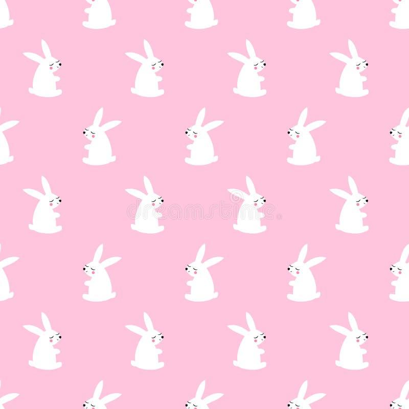 Χαριτωμένο άσπρο άνευ ραφής σχέδιο λαγουδάκι στο ρόδινο υπόβαθρο ελεύθερη απεικόνιση δικαιώματος