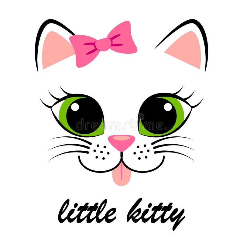 Χαριτωμένο άσπρο γατάκι με το ρόδινο τόξο Κοριτσίστικη τυπωμένη ύλη με το γατάκι για την μπλούζα απεικόνιση αποθεμάτων
