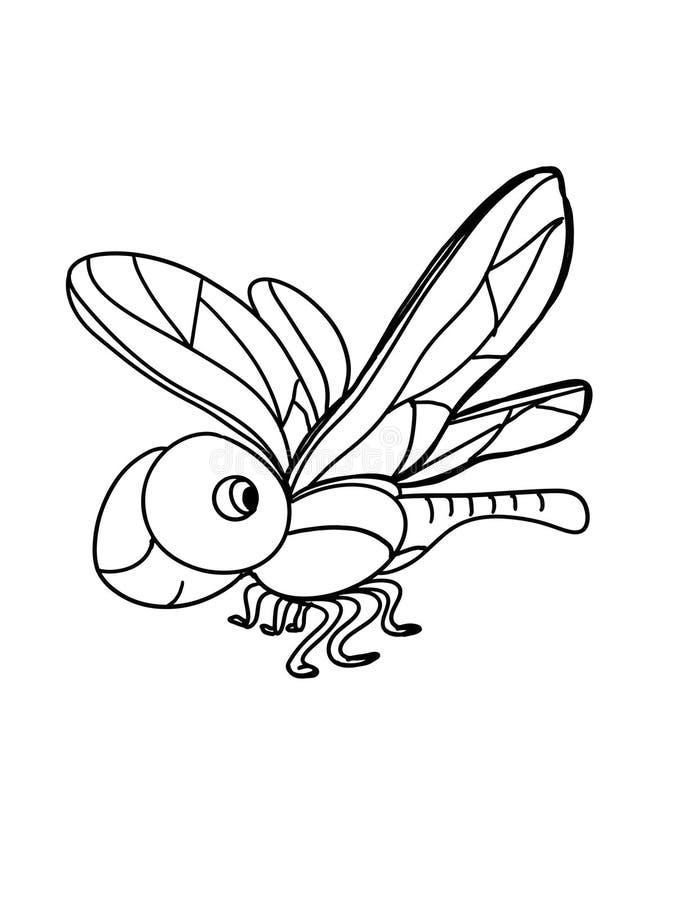 Χαριτωμένο άσπρο υπόβαθρο απεικόνισης σχεδίων σχεδίων λιβελλουλών κινούμενων σχεδίων απεικόνισης διανυσματική απεικόνιση